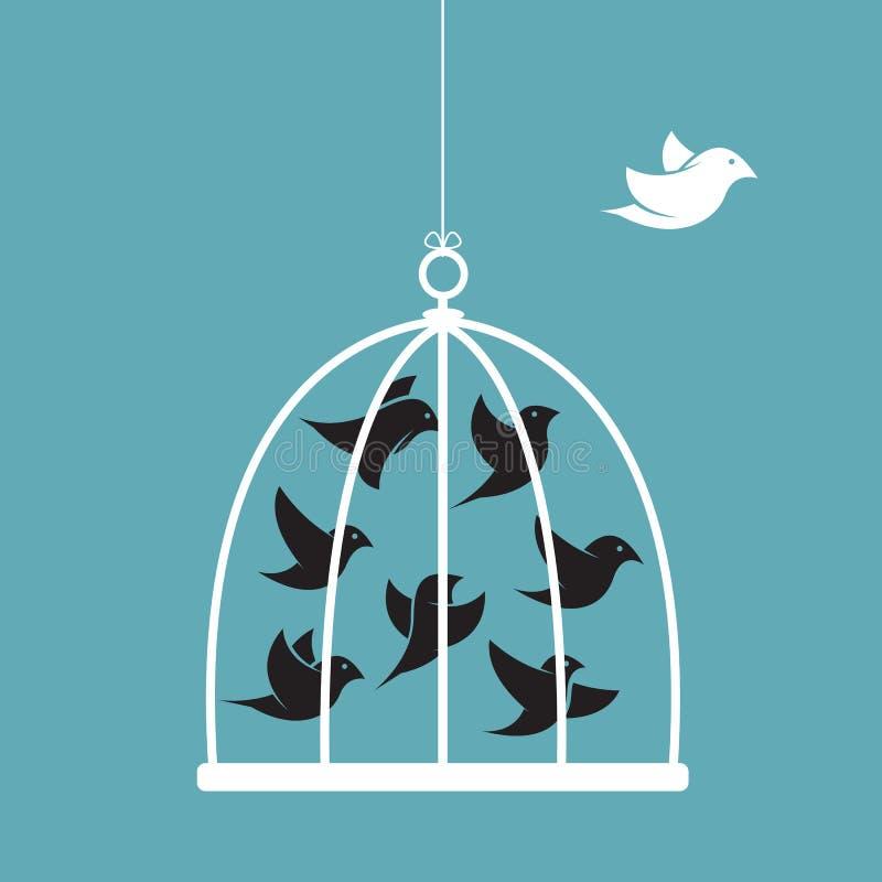 Vectorbeeld van een vogel in de kooi en buiten de kooi stock illustratie