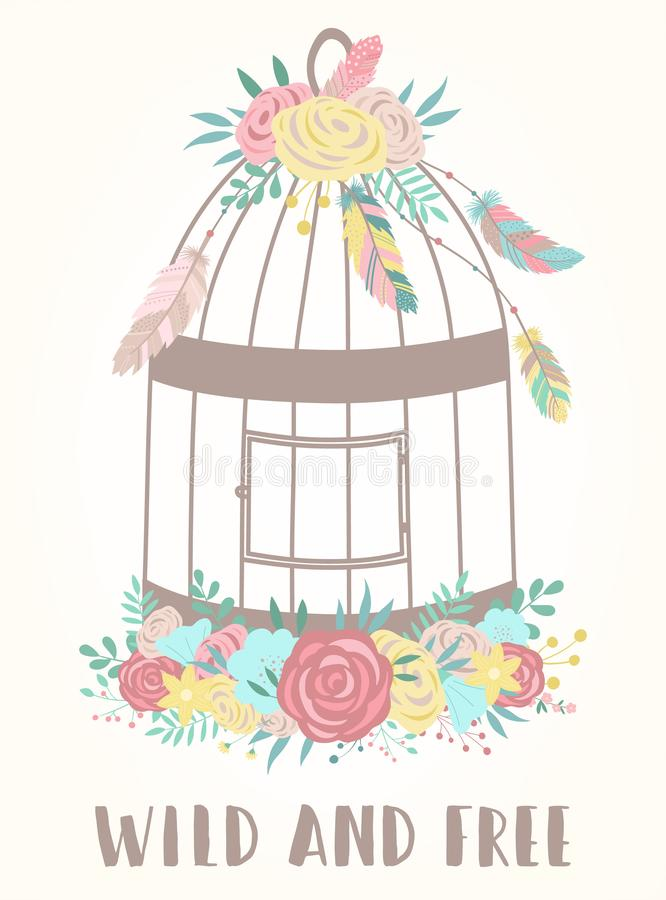Vectorbeeld van een vogelkooi in bohostijl met Wild en Vrije bloemen, veren en woord Het gezicht van Hand-drawn vrouwen illustrat vector illustratie