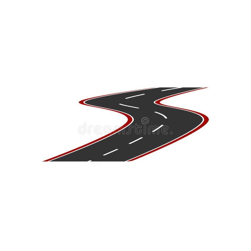 Vectorbeeld van het embleem van een minimalistic weg met een rode kant van de weg en een gestippelde het verdelen strook vlak royalty-vrije illustratie