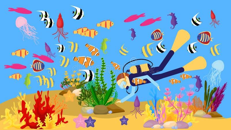 Vectorbeeld van het mariene leven vector illustratie