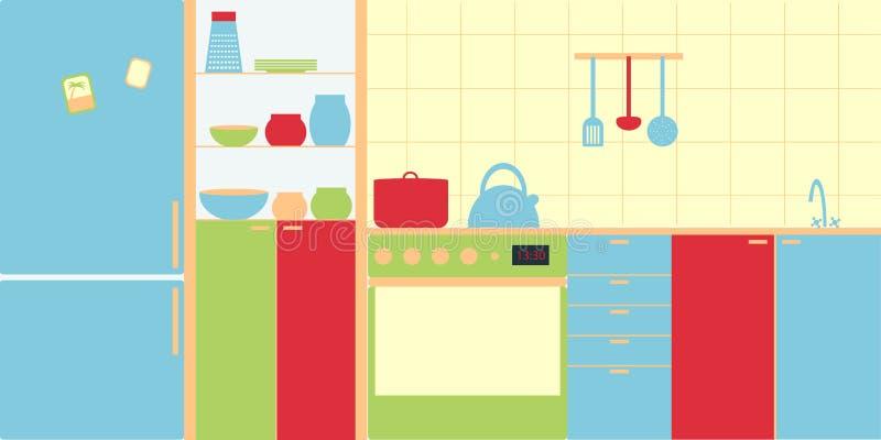 Vectorbeeld van keukenbinnenland in moderne stijl Eenvoud en minimalism, heldere kleuren royalty-vrije illustratie