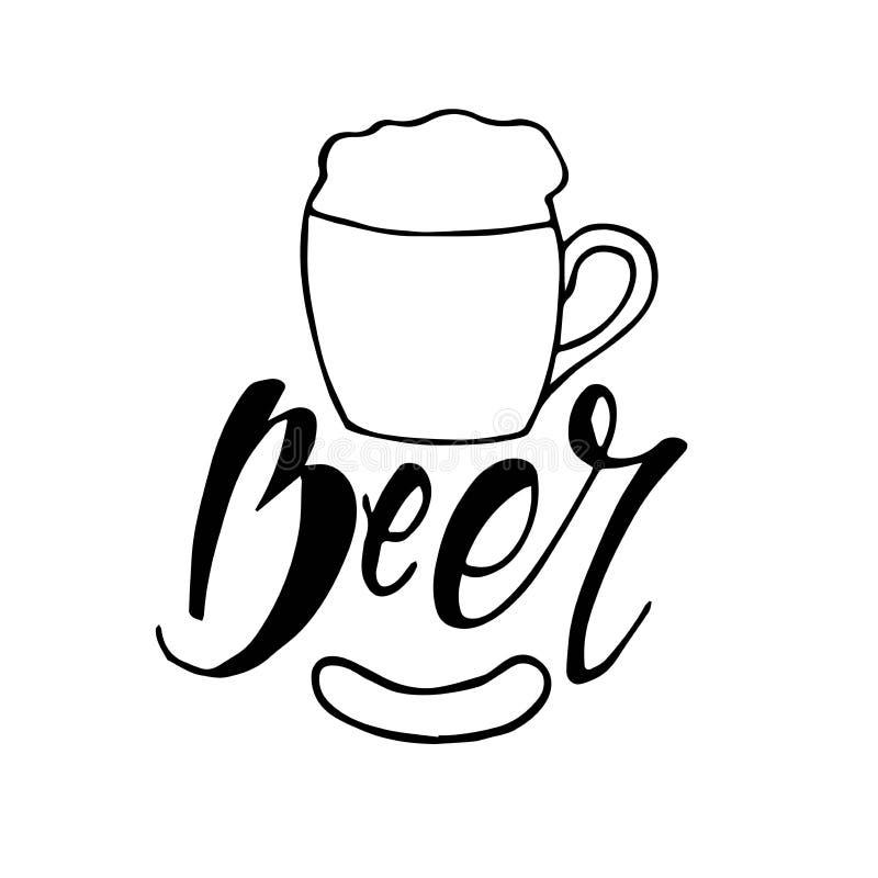 Vectorbeeld van mok bier met inschrijvingsbier Drank met heel wat schuim lettering vector illustratie
