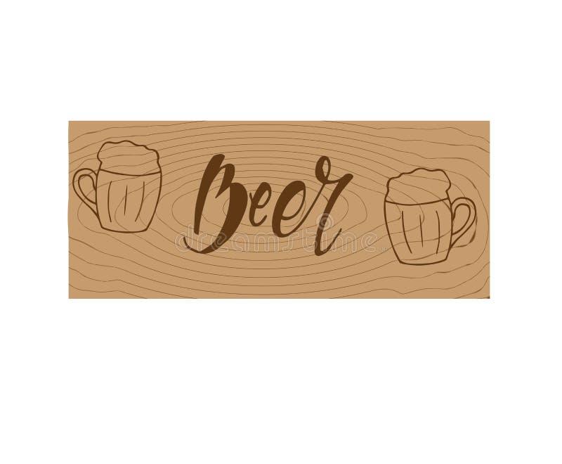 Vectorbeeld van mok bier met inschrijvingsbier Drank met heel wat schuim lettering Houten Textuur royalty-vrije illustratie