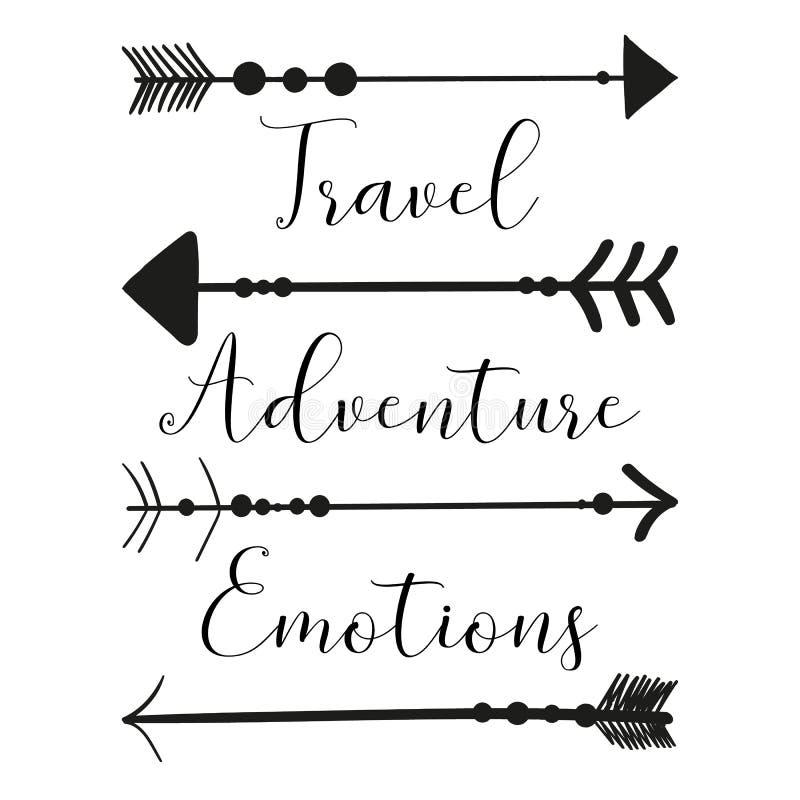 Vectorbeeld van Native American-pijlen op een lichte achtergrond met de inschrijvingsreis, avontuur, emotie Zwart-witte illu stock illustratie
