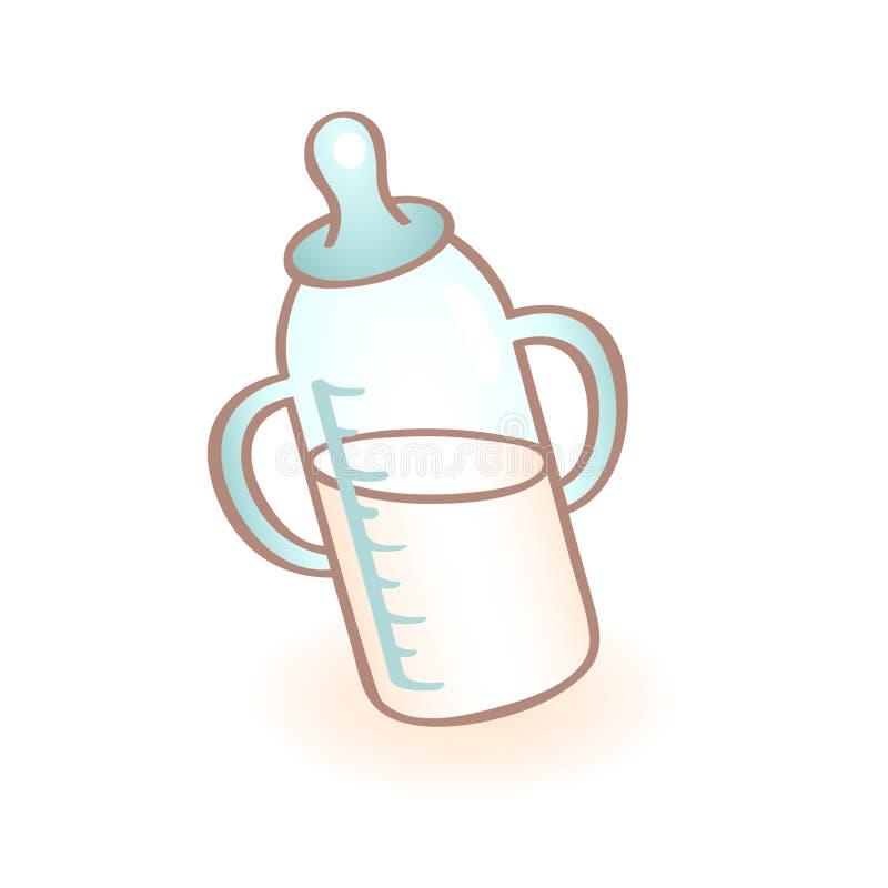 Vectorbeeld van nieuw - geboren zuigfles met handvatten en blauwe fopspeen zuigelingspictogram Kindpunt royalty-vrije illustratie