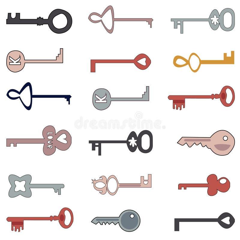 Vectorbeeld van sleutels De stijl van het beeldverhaal vector illustratie