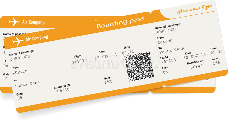 Vectorbeeld van twee kaartjes van de luchtvaartlijn instapkaart stock illustratie