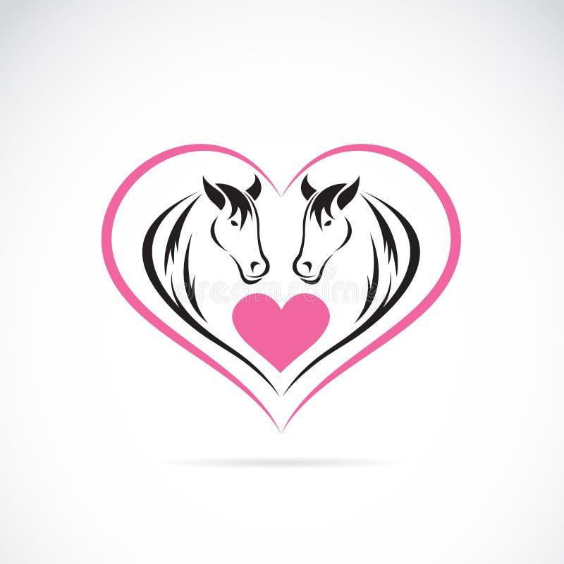 Vectorbeeld van twee paarden op een hartvorm vector illustratie