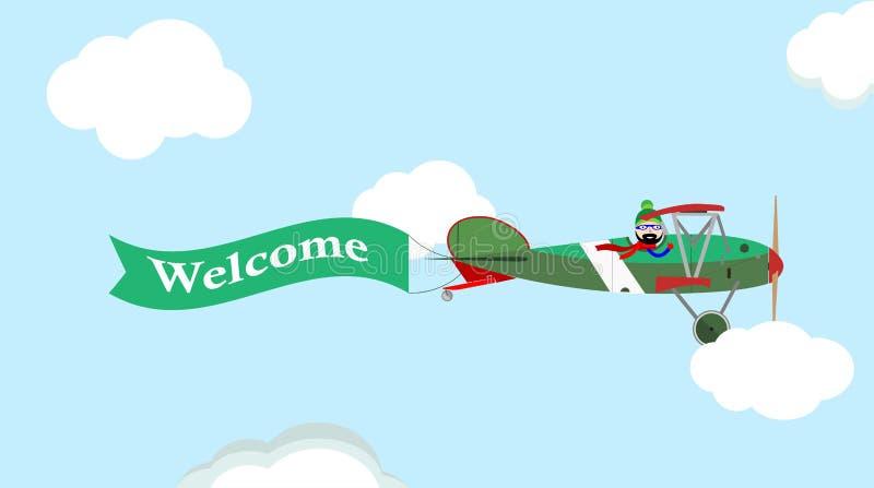 Vectorbeeld van uitstekend vliegtuig met banner in de hemel royalty-vrije illustratie
