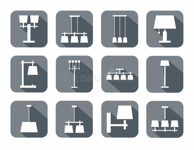 Vectorbeeld van verschillende types van lampen royalty-vrije illustratie