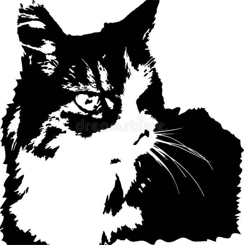 Vectorbeeld van woeste het kijken Noorse boskat royalty-vrije illustratie