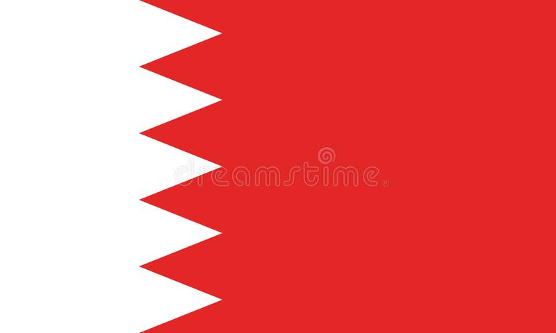 Vectorbeeld voor de vlag van Bahrein Gebaseerd op de officiële en nauwkeurige Bahreinse vlag vector illustratie