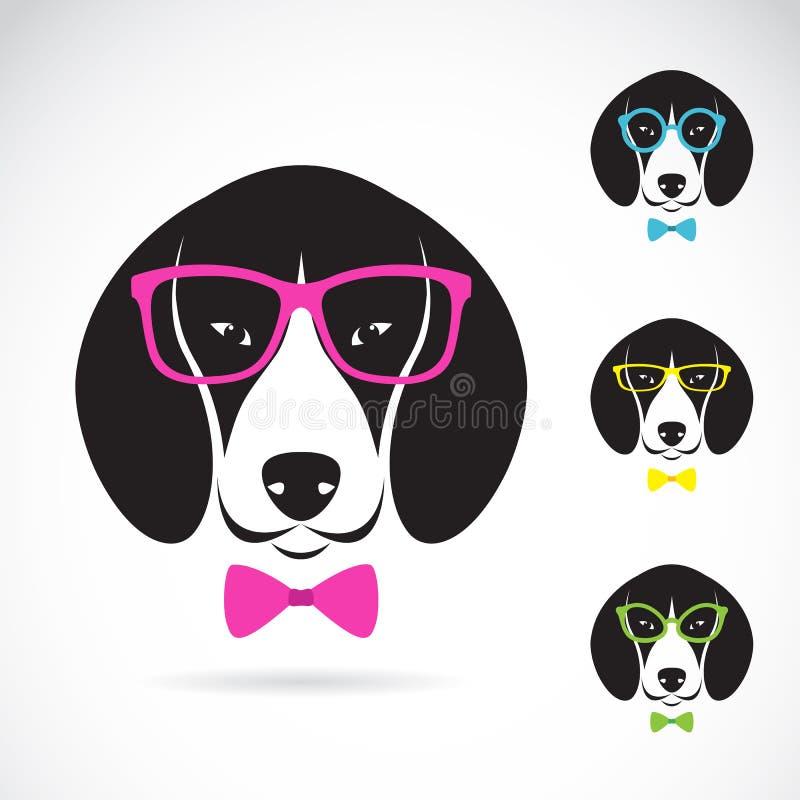 Vectorbeelden van hondbrak die glazen dragen royalty-vrije illustratie