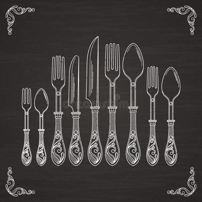 Vectorbeelden van lepel, vork en mes De tekeningssilhouet van de vaatwerkhand op zwart bord vector illustratie