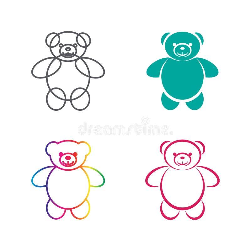 Vectorbeelden van teddybeer op een witte achtergrond stock illustratie