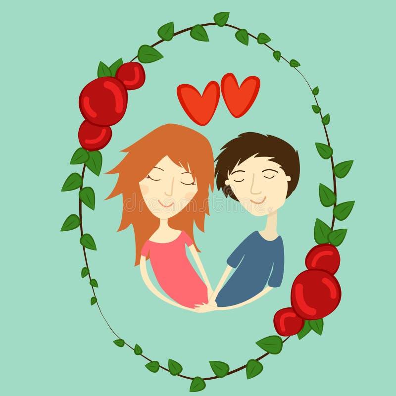 Vectorbeeldjongen en meisje in liefde royalty-vrije stock foto