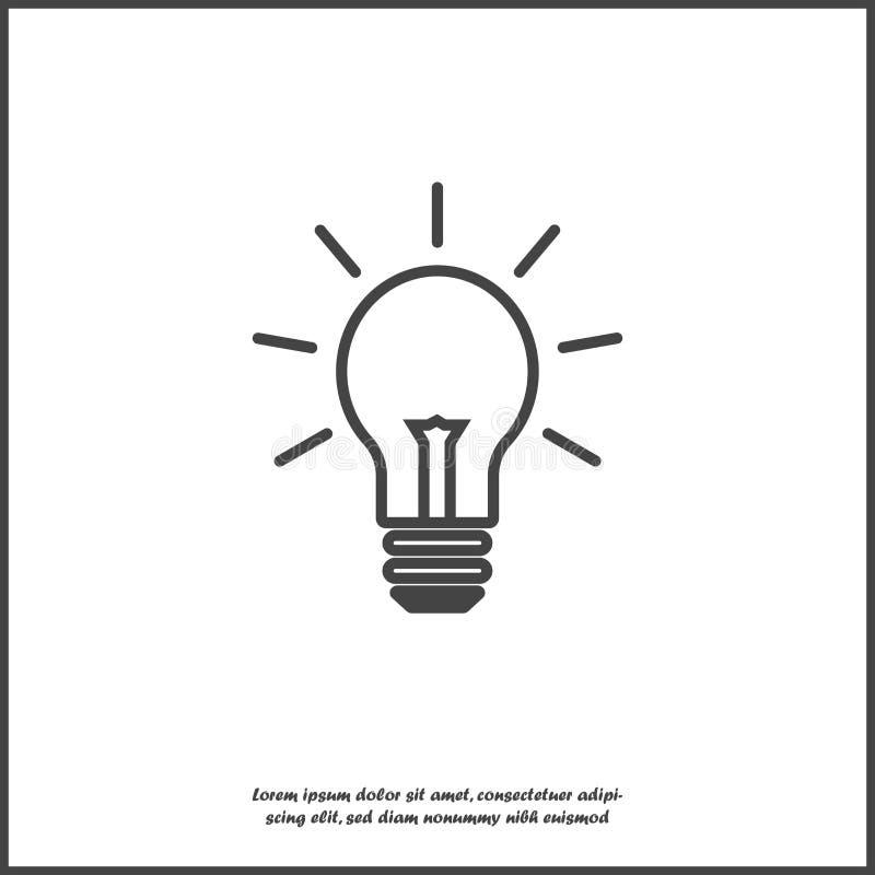 Vectorbeeldlamp Gloeilampenpictogram op wit geïsoleerde achtergrond Lagen voor gemakkelijke het uitgeven illustratie worden gegro royalty-vrije illustratie
