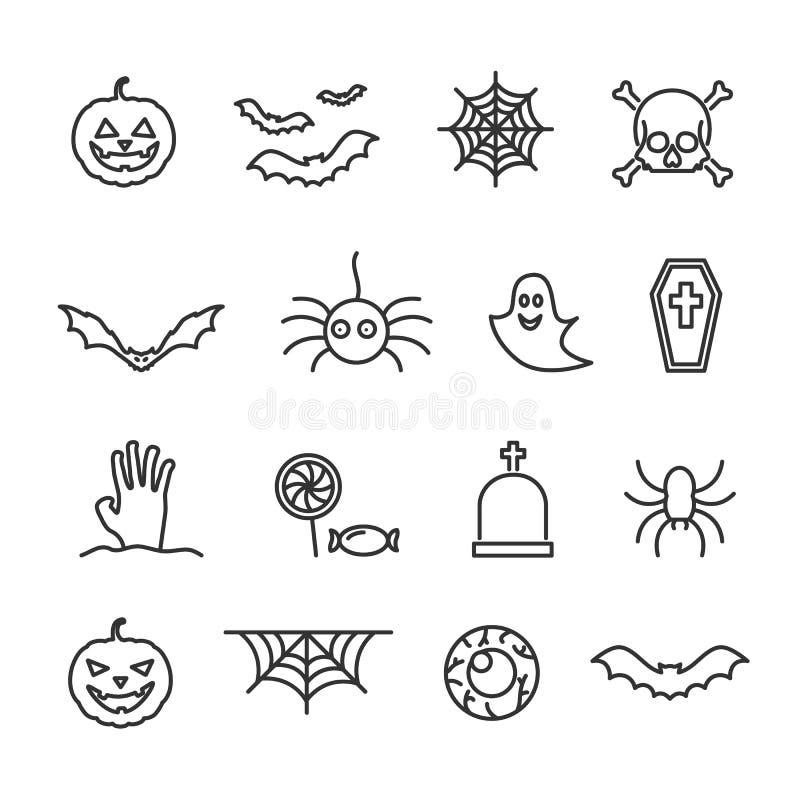 Vectorbeeldreeks Halloween-lijnpictogrammen vector illustratie