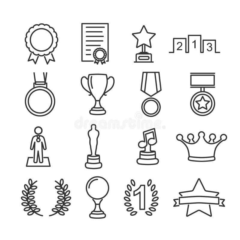 Vectorbeeldreeks pictogrammen van de toekenningslijn royalty-vrije stock foto