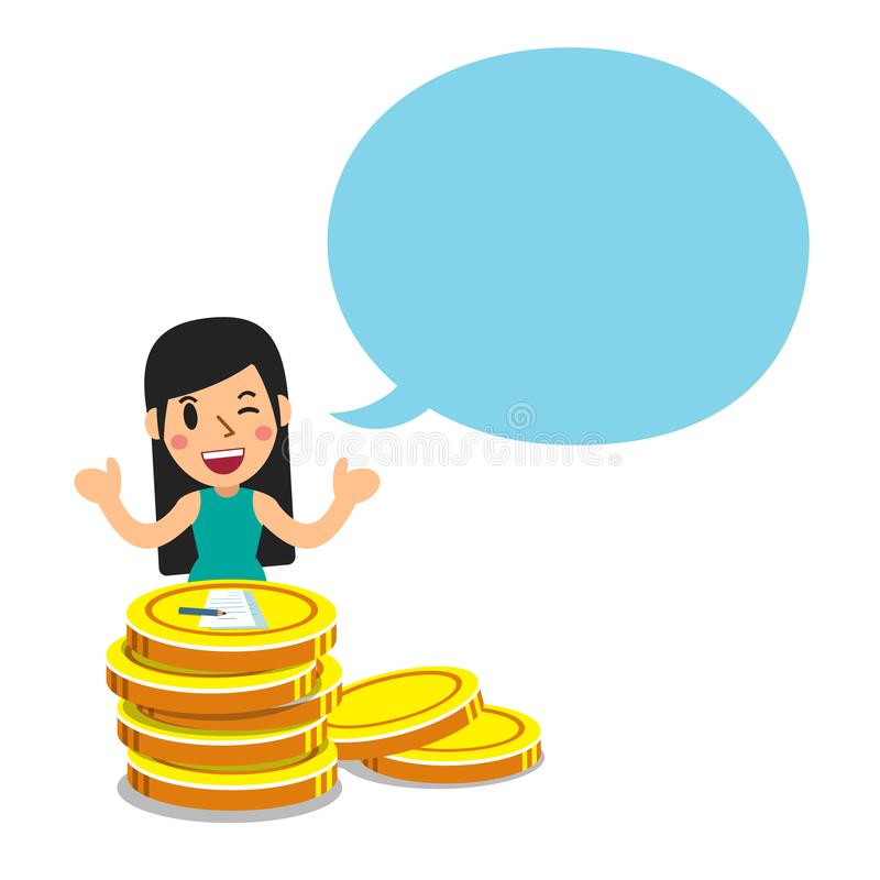 Vectorbeeldverhaal bedrijfsconceptenvrouw met grote muntstukstapel en toespraakbel vector illustratie