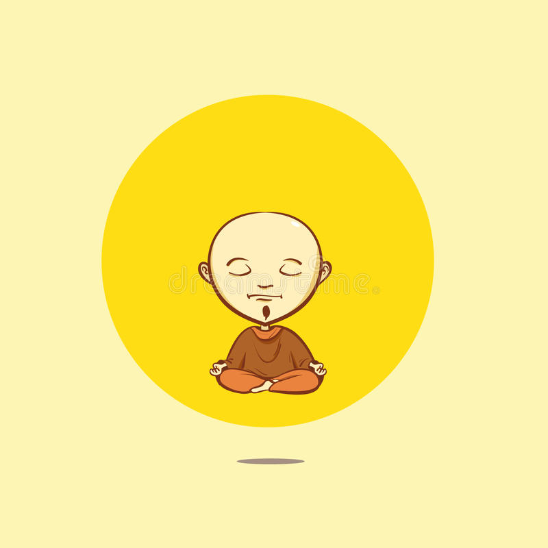 Vectorbeeldverhaal boeddhistische monnik stock illustratie