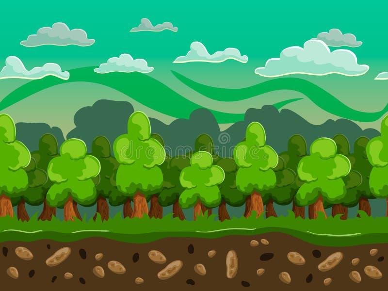 Vectorbeeldverhaal bos naadloos horizontaal landschap vector illustratie