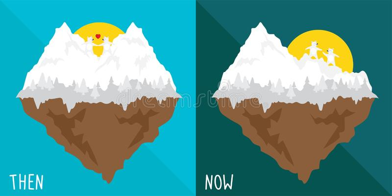 Vectorbeeldverhaal dan en nu over effect het globale verwarmen de smelting van de het hartberg van de ijssneeuw en gebroken royalty-vrije illustratie