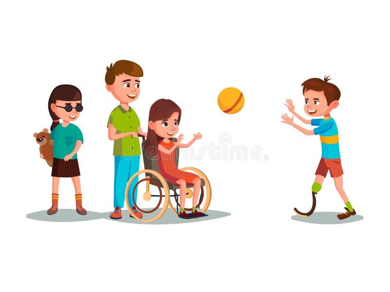 Vectorbeeldverhaal gehandicapte tienerjonge geitjes die reeks spelen royalty-vrije illustratie