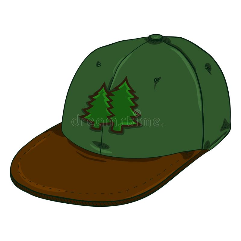 Vectorbeeldverhaal Groene Oude School GLB met Vlakke Piek Hiphop Headwear vector illustratie