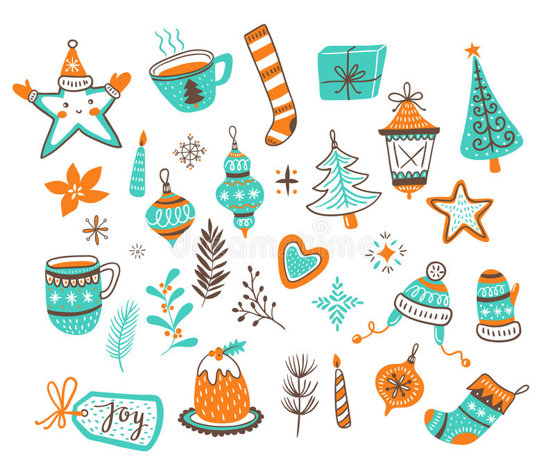 Vectorbeeldverhaal hand-drawn inzameling van traditionele die Kerstmisreeks, op witte achtergrond wordt geïsoleerd vector illustratie