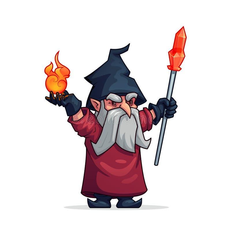 Vectorbeeldverhaal kwade tovenaar of slecht tovenaarpictogram stock illustratie