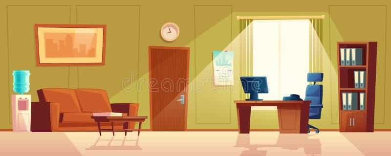 Vectorbeeldverhaal leeg bureau met venster, modern binnenland vector illustratie