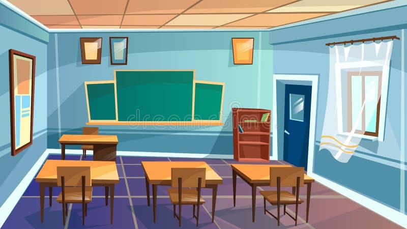 Vectorbeeldverhaal lege school, universiteitsklaslokaal vector illustratie
