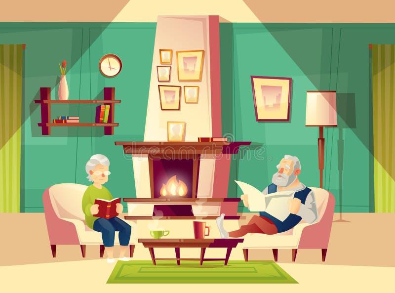 Vectorbeeldverhaal oude man en vrouw in woonkamer stock illustratie