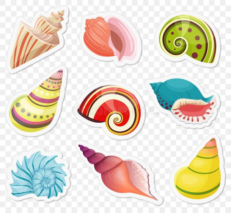 Vectorbeeldverhaal overzeese die shells stickers op de transperant alpha- achtergrond worden geplaatst royalty-vrije illustratie