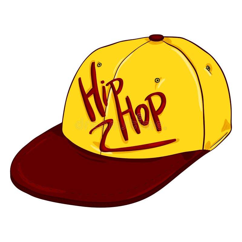 Vectorbeeldverhaal Retro Honkbal GLB met Vlakke Piek Hiphop Headwear stock illustratie