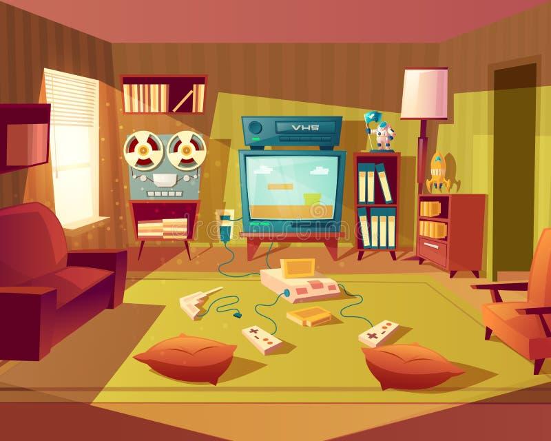 Vectorbeeldverhaal retro ruimte met videospelletjes stock illustratie