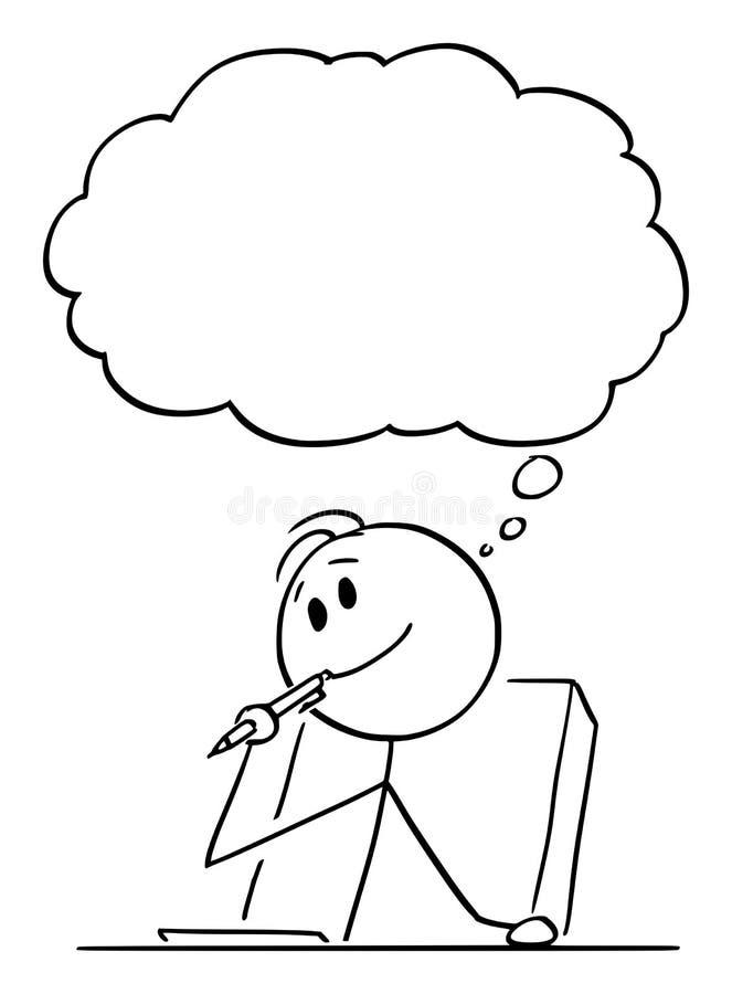 Vectorbeeldverhaal van de Creatieve Mens of Zakenman of Schrijver Thinking About Something met Ballpoint in Mond stock illustratie