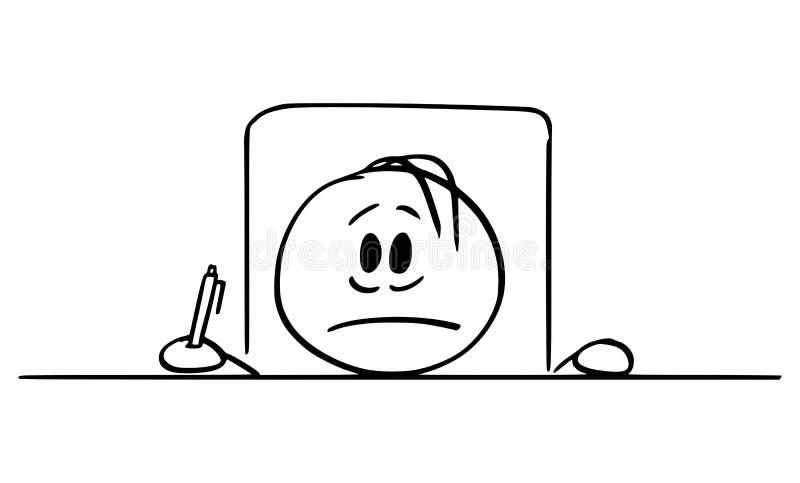 Vectorbeeldverhaal van de Gefrustreerde Mens of Zakenman Sitting met Hoofd op het Bureau met in Hand Ballpoint stock illustratie