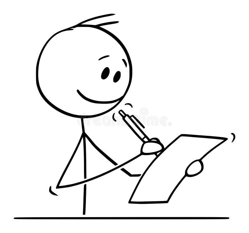 Vectorbeeldverhaal van de Glimlachende Mens of Zakenman Writing op Blad van Document met Ballpoint vector illustratie