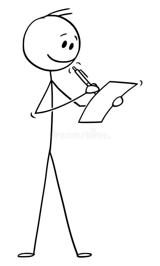 Vectorbeeldverhaal van de Glimlachende Mens of Zakenman Writing op Blad van Document met Ballpoint stock illustratie