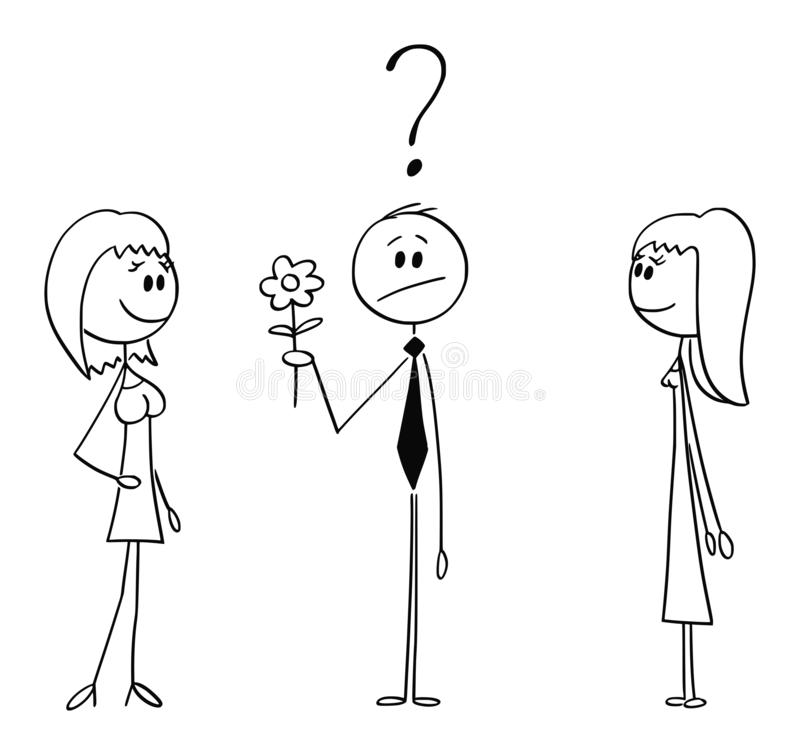 Vectorbeeldverhaal van de Mens op de Bloem van de Datumholding en het Beslissen tussen Twee Vrouwen of Meisjes stock illustratie
