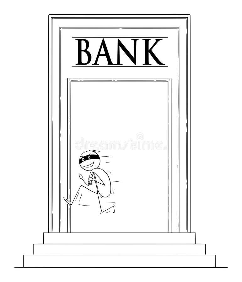 Vectorbeeldverhaal van de Mens of Rover in Masker die vanaf Bank met Zak Dollars of Contant geldgeld lopen stock illustratie