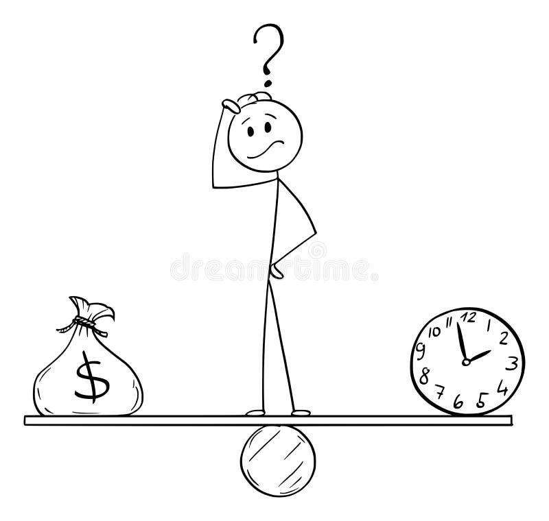 Vectorbeeldverhaal van de Mens of Zakenman Between Clock en Zak van Dollars die op Geschommeltijd en Geld in evenwicht brengen royalty-vrije illustratie