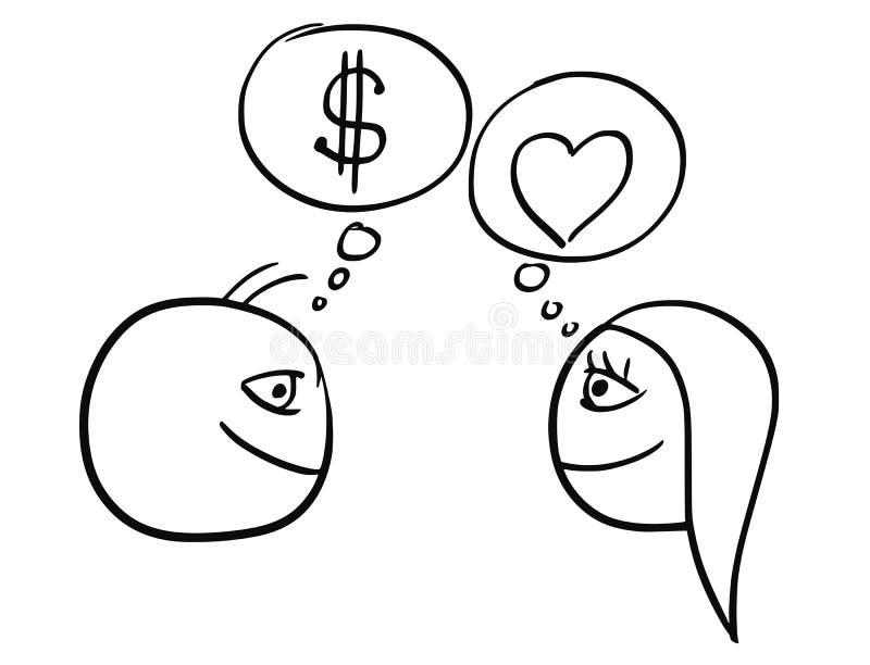 Vectorbeeldverhaal van Man en Vrouwen het Denken Verschil over Geld royalty-vrije illustratie