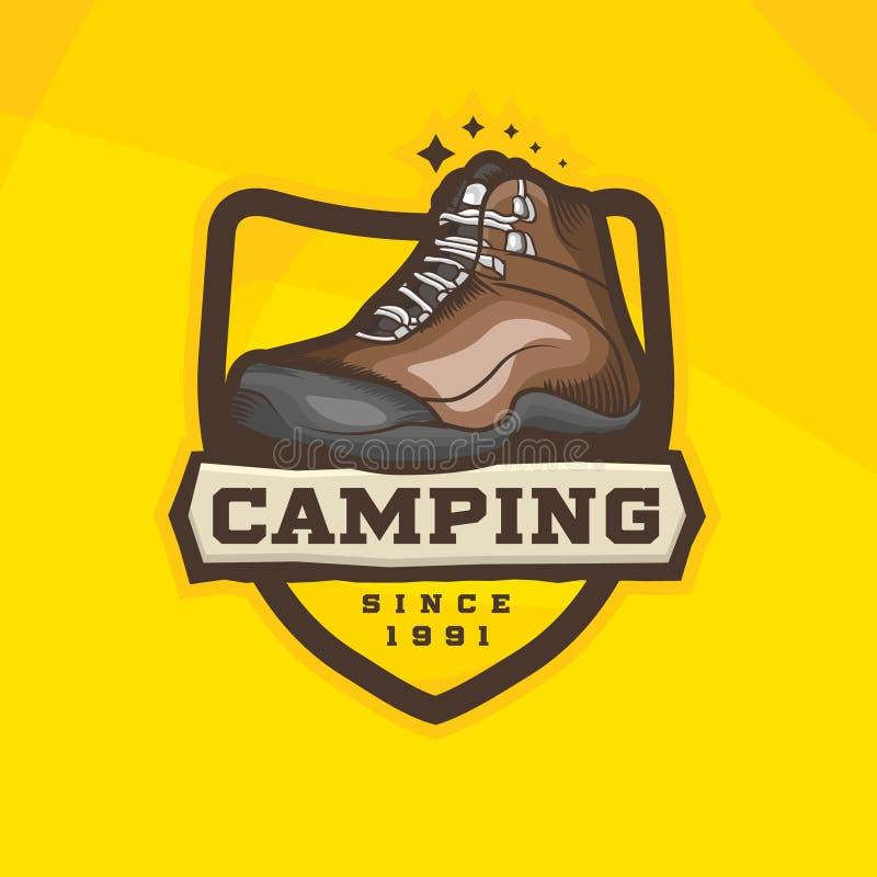 Vectorbeeldverhaal wandelingsschoenen logotype Trekkingslaarzen vector illustratie