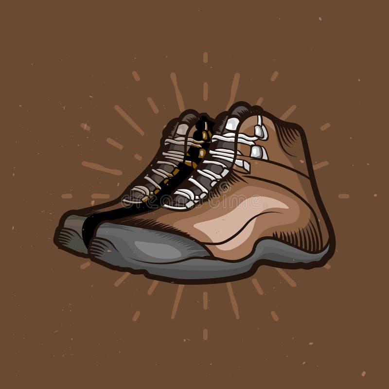 Vectorbeeldverhaal wandelingsschoenen Trekkingslaarzen met zonnestraal op de achtergrond royalty-vrije illustratie