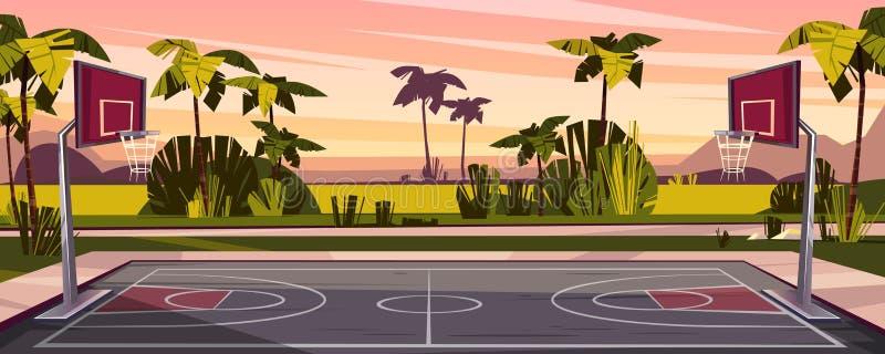 Vectorbeeldverhaalachtergrond van het hof van het straatbasketbal stock illustratie