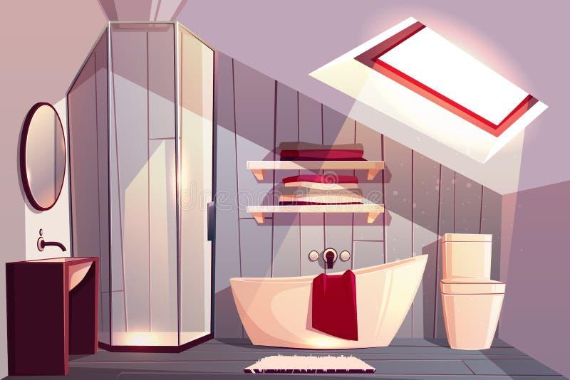 Vectorbeeldverhaalbinnenland van badkamers in zolder vector illustratie