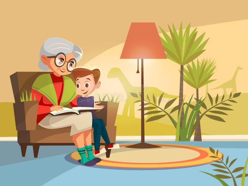 Vectorbeeldverhaalgrootmoeder die aan jongen lezen royalty-vrije illustratie